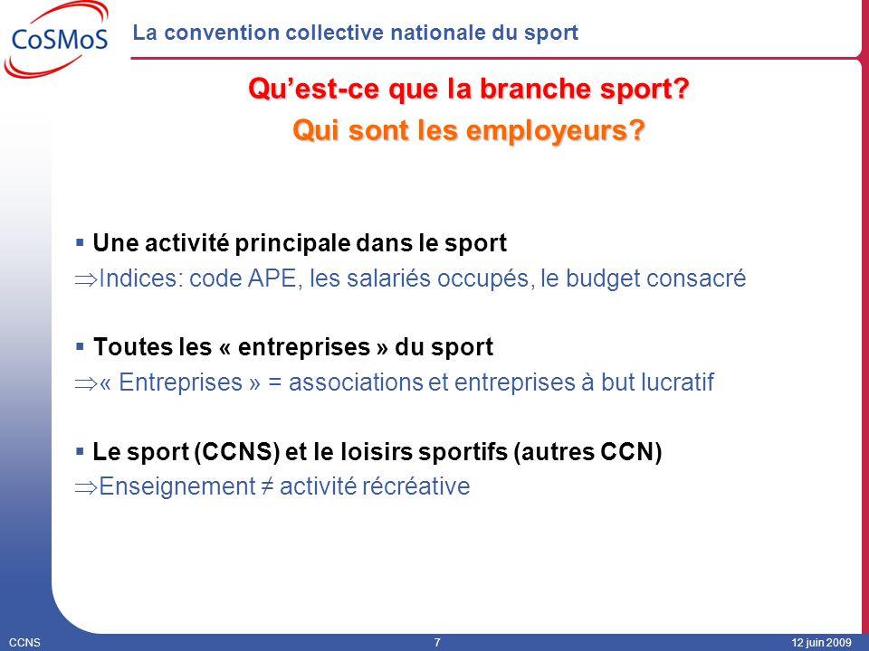 CCNS712 juin 2009 La convention collective nationale du sport Quest-ce que la branche sport? Qui sont les employeurs? Une activité principale dans le