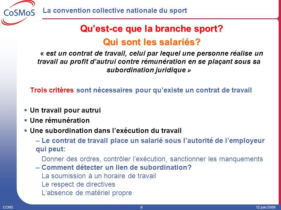 CCNS812 juin 2009 La convention collective nationale du sport Quest-ce que la branche sport? Qui sont les salariés? « est un contrat de travail, celui