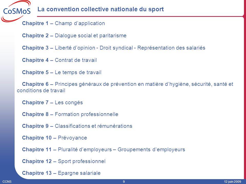 CCNS912 juin 2009 La convention collective nationale du sport Chapitre 1 – Champ dapplication Chapitre 2 – Dialogue social et paritarisme Chapitre 3 –