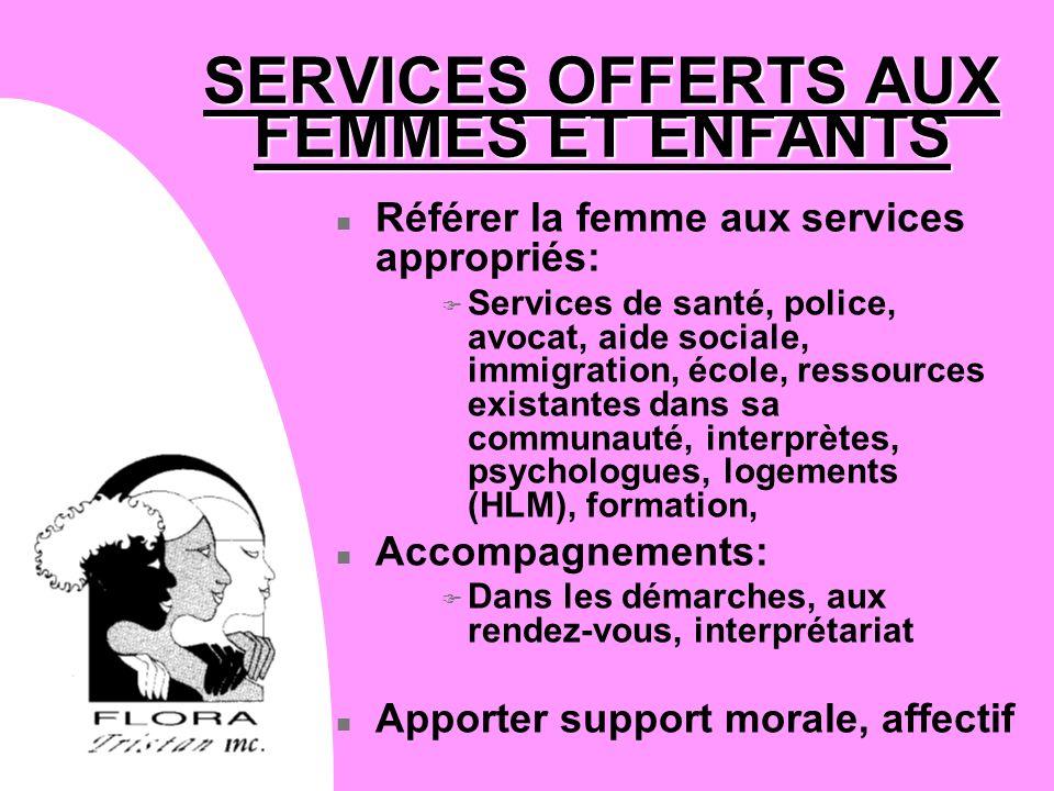 SERVICES OFFERTS AUX FEMMES ET ENFANTS n Référer la femme aux services appropriés: F Services de santé, police, avocat, aide sociale, immigration, éco