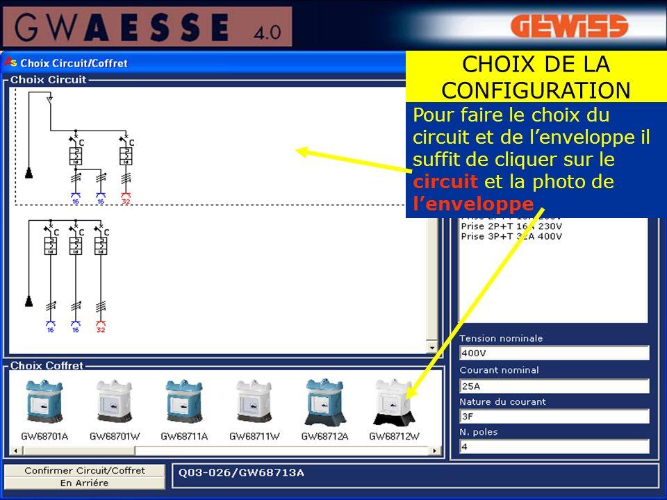 Pour faire le choix du circuit et de lenveloppe il suffit de cliquer sur le circuit et la photo de lenveloppe CHOIX DE LA CONFIGURATION