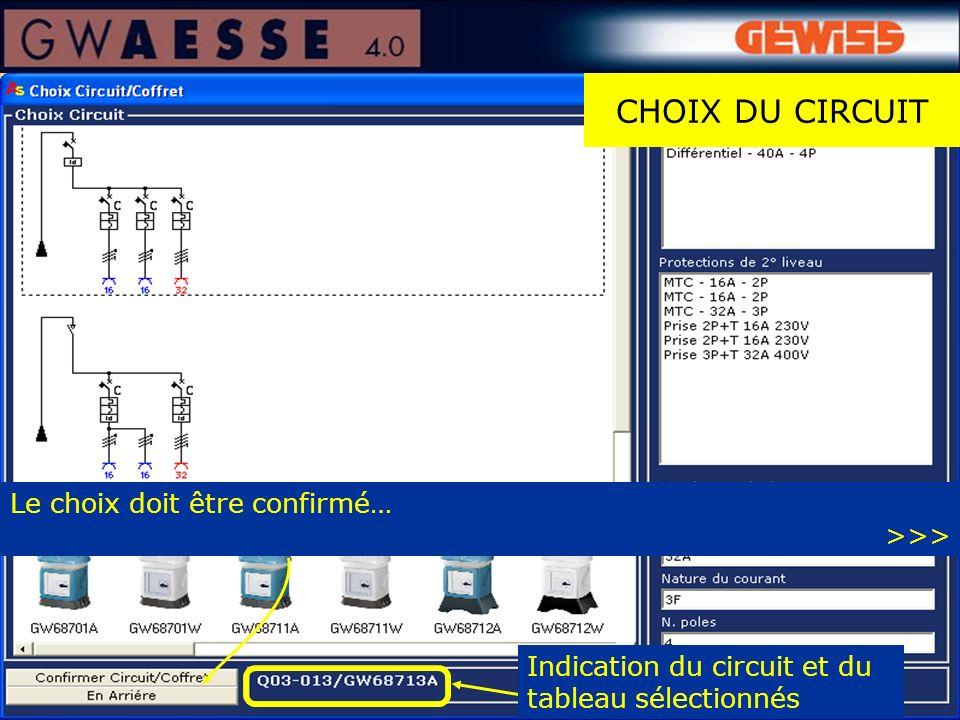 CHOIX DU CIRCUIT Indication du circuit et du tableau sélectionnés Le choix doit être confirmé… >>>