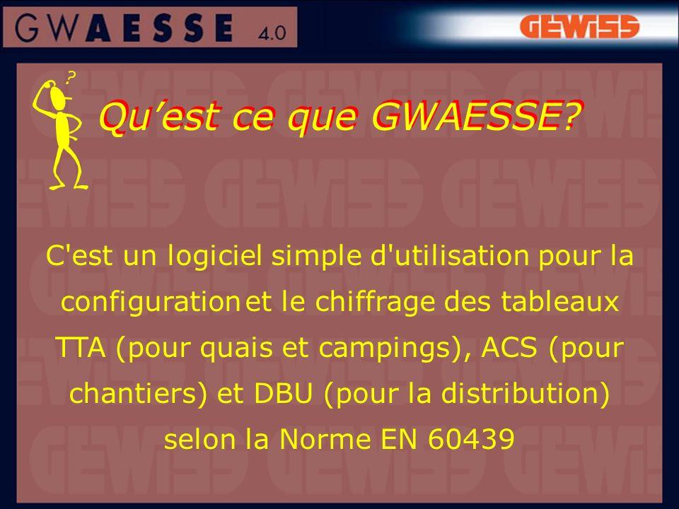 Quest ce que GWAESSE? C'est un logiciel simple d'utilisation pour la configuration et le chiffrage des tableaux TTA (pour quais et campings), ACS (pou