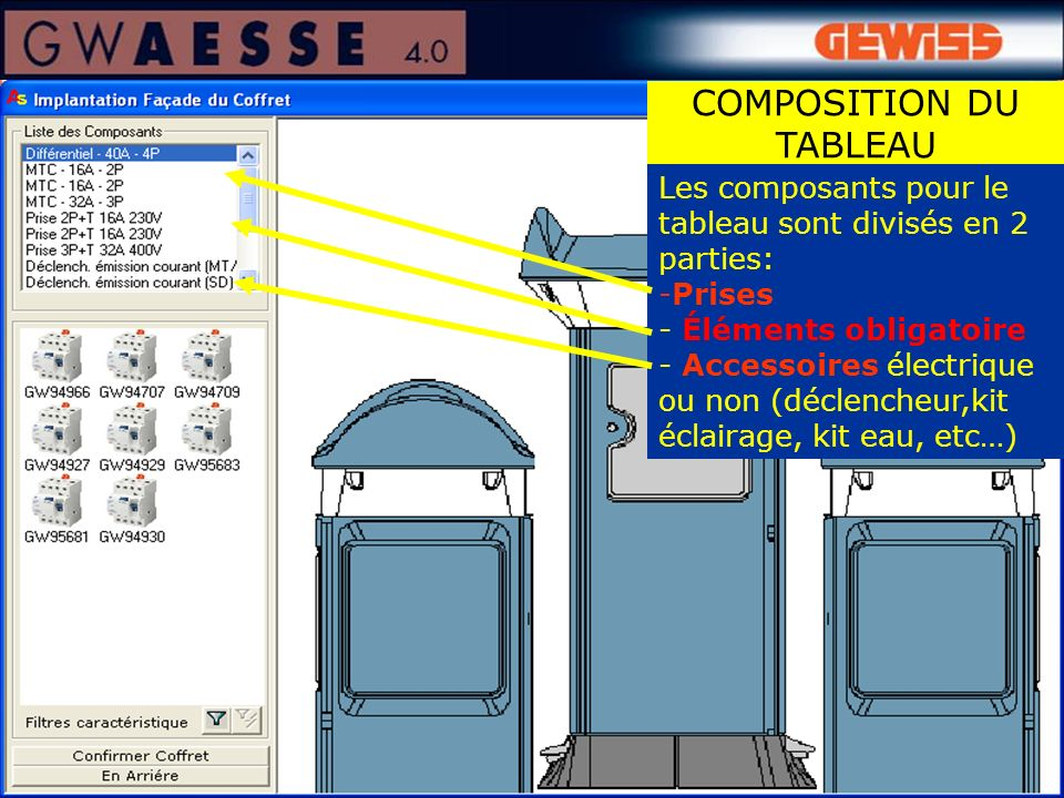 Les composants pour le tableau sont divisés en 2 parties: -Prises - Éléments obligatoire - Accessoires électrique ou non (déclencheur,kit éclairage, kit eau, etc…) COMPOSITION DU TABLEAU