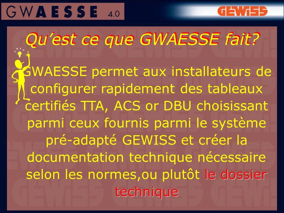 Quest ce que GWAESSE fait? ledossier technique GWAESSE permet aux installateurs de configurer rapidement des tableaux certifiés TTA, ACS or DBU choisi