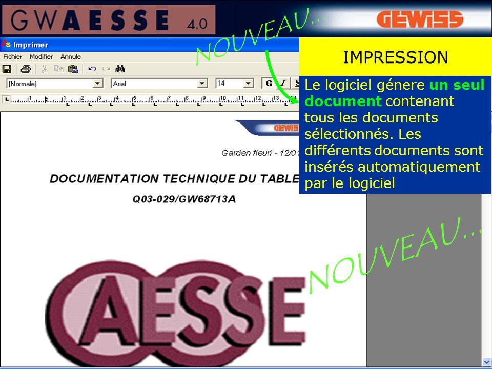 Le logiciel génere un seul document contenant tous les documents sélectionnés. Les différents documents sont insérés automatiquement par le logiciel I