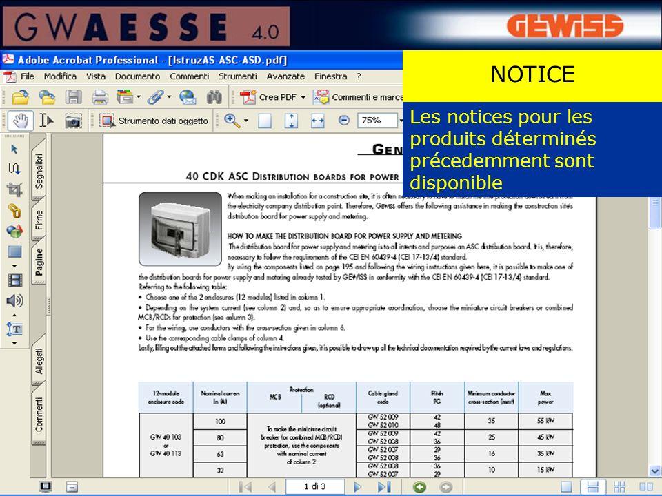 Les notices pour les produits déterminés précedemment sont disponible NOTICE