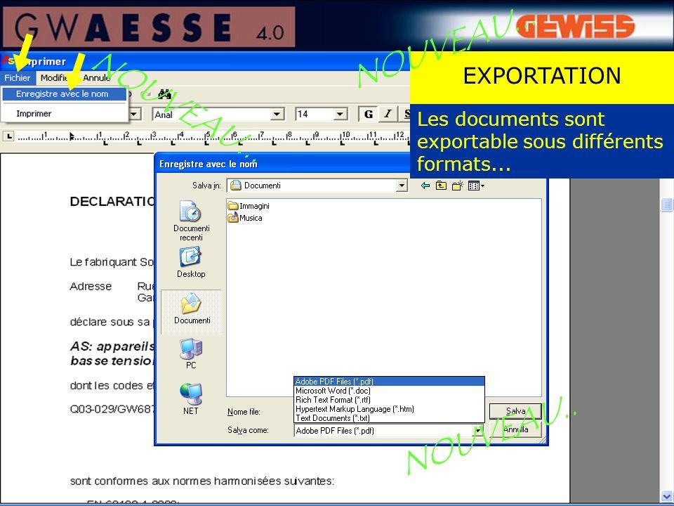 EXPORTATION NOUVEAU... Les documents sont exportable sous différents formats... NOUVEAU...