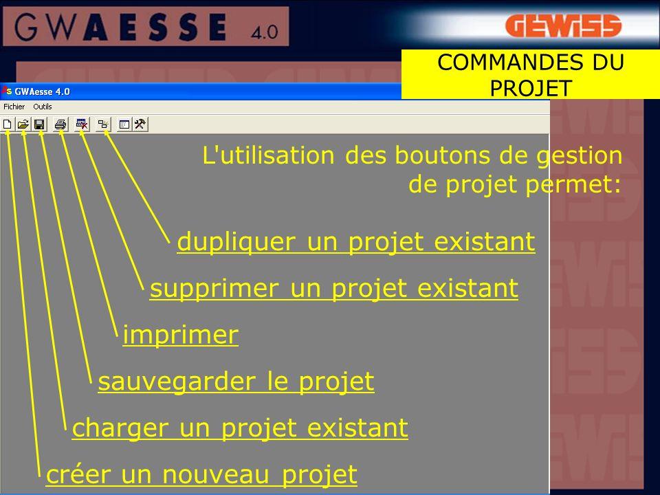 L utilisation des boutons de gestion de projet permet: COMMANDES DU PROJET dupliquer un projet existant supprimer un projet existant sauvegarder le projet charger un projet existant créer un nouveau projet imprimer