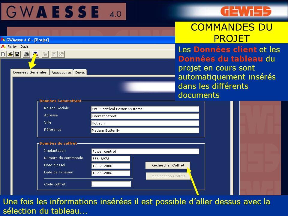 Les Données client et les Données du tableau du projet en cours sont automatiquement insérés dans les différents documents Une fois les informations i