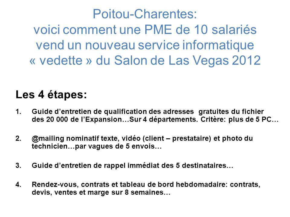 Poitou-Charentes: voici comment une PME de 10 salariés vend un nouveau service informatique « vedette » du Salon de Las Vegas 2012 Les 4 étapes: 1.Gui