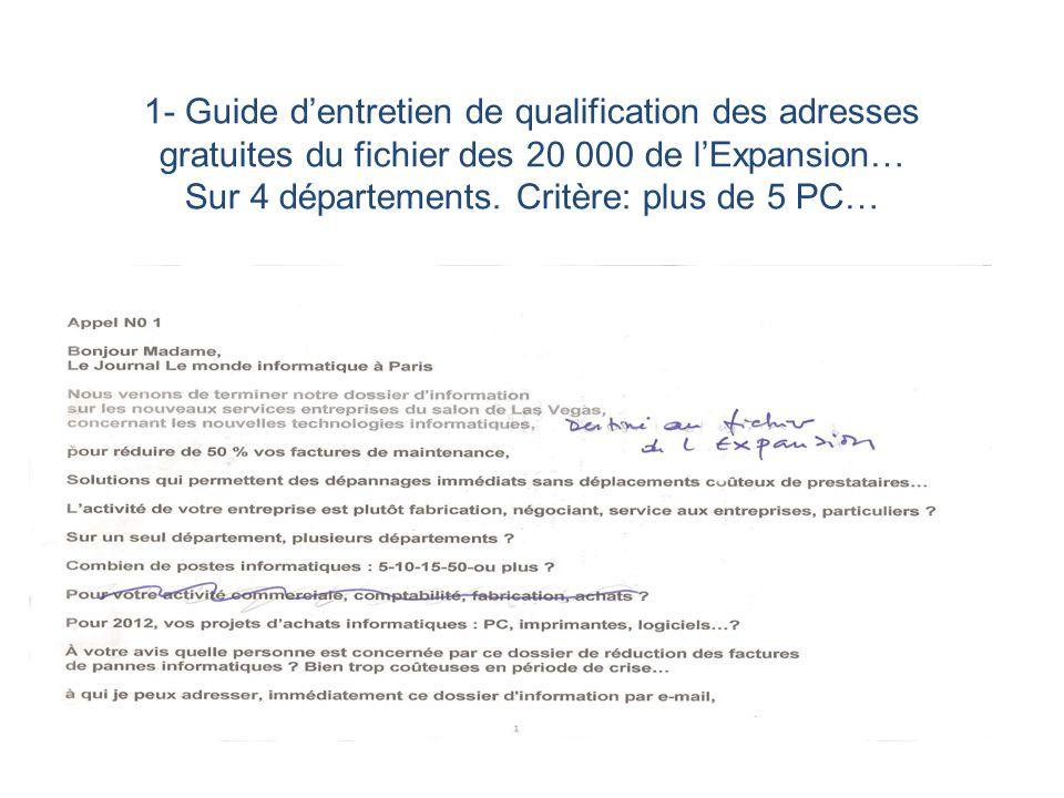 1- Guide dentretien de qualification des adresses gratuites du fichier des 20 000 de lExpansion… Sur 4 départements. Critère: plus de 5 PC…