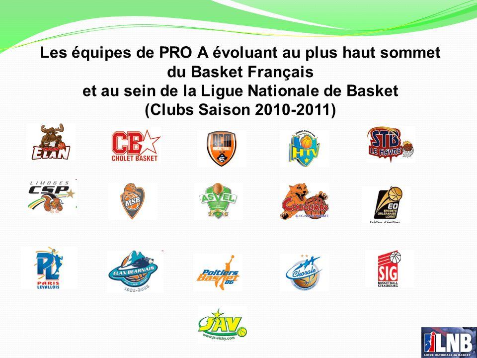 Les équipes de PRO A évoluant au plus haut sommet du Basket Français et au sein de la Ligue Nationale de Basket (Clubs Saison 2010-2011)