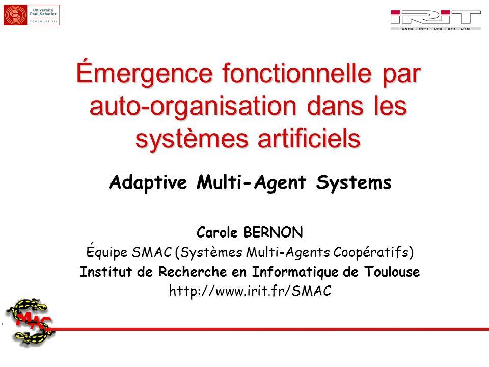 Émergence fonctionnelle par auto-organisation dans les systèmes artificiels Adaptive Multi-Agent Systems Carole BERNON Équipe SMAC (Systèmes Multi-Age