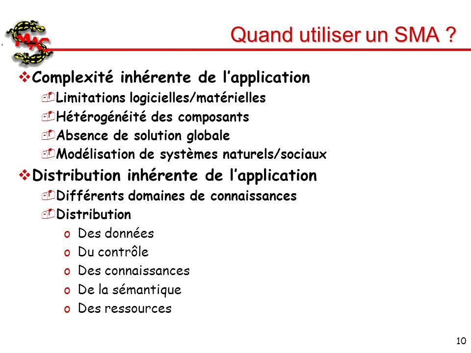 10 Quand utiliser un SMA ? Complexité inhérente de lapplication Limitations logicielles/matérielles Hétérogénéité des composants Absence de solution g
