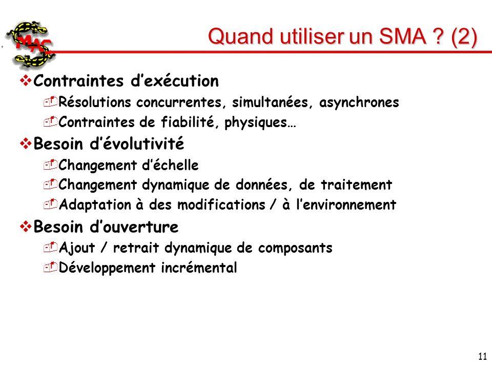 11 Quand utiliser un SMA ? (2) Contraintes dexécution Résolutions concurrentes, simultanées, asynchrones Contraintes de fiabilité, physiques… Besoin d