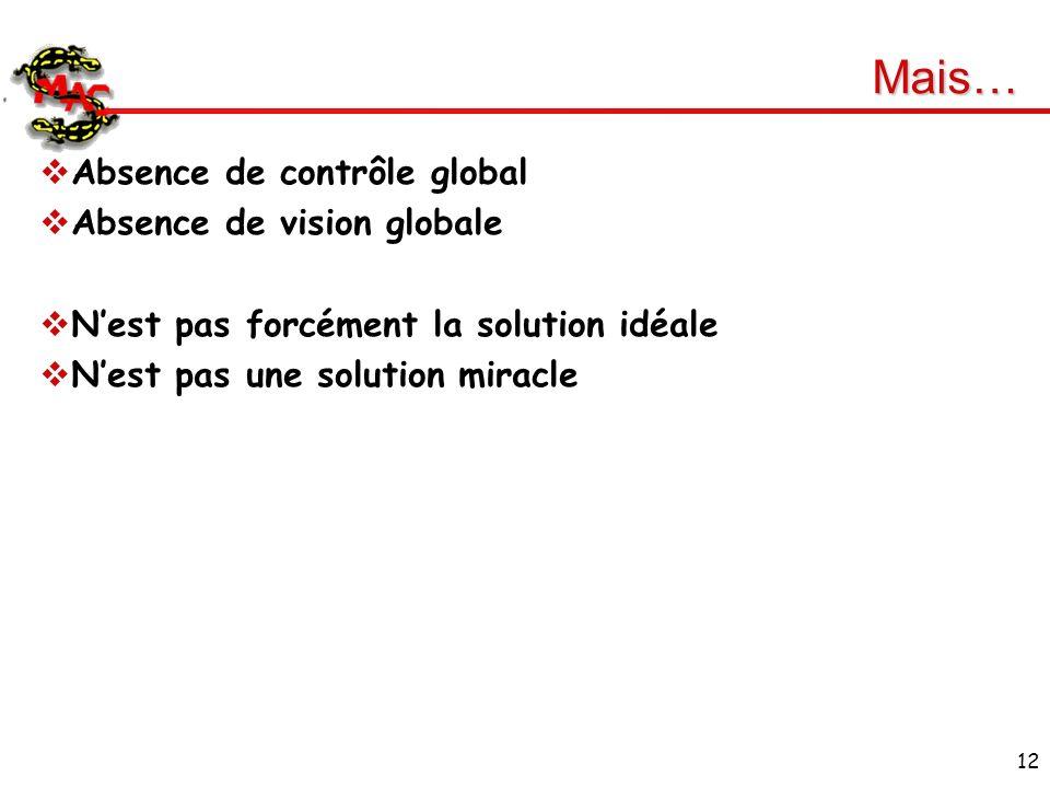 12 Mais… Absence de contrôle global Absence de vision globale Nest pas forcément la solution idéale Nest pas une solution miracle