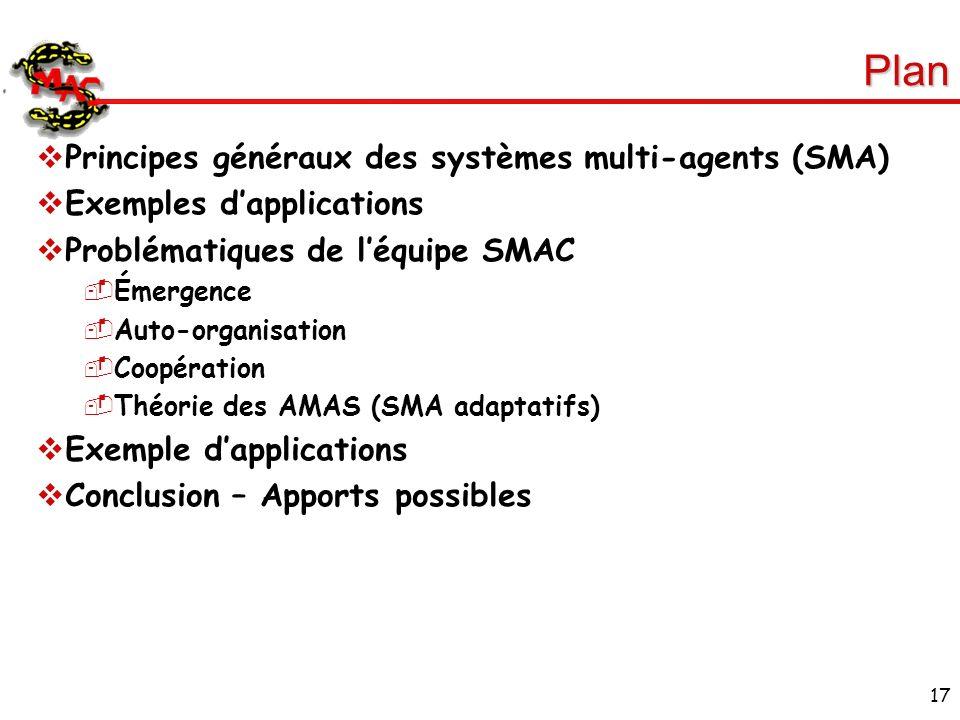 17 Plan Principes généraux des systèmes multi-agents (SMA) Exemples dapplications Problématiques de léquipe SMAC Émergence Auto-organisation Coopérati