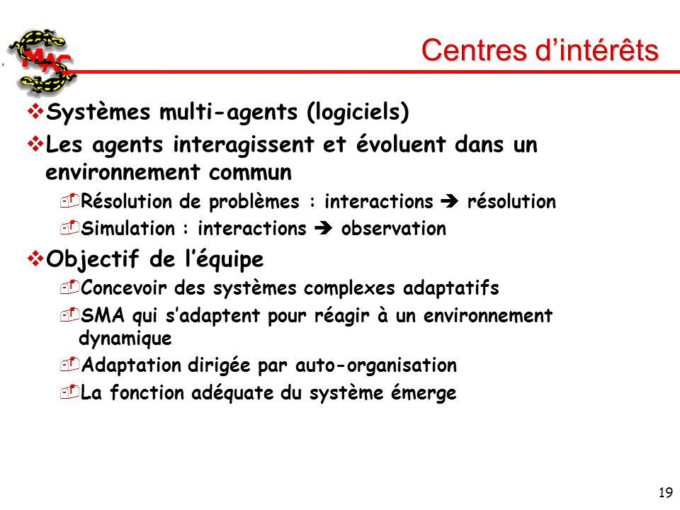19 Centres dintérêts Systèmes multi-agents (logiciels) Les agents interagissent et évoluent dans un environnement commun Résolution de problèmes : int