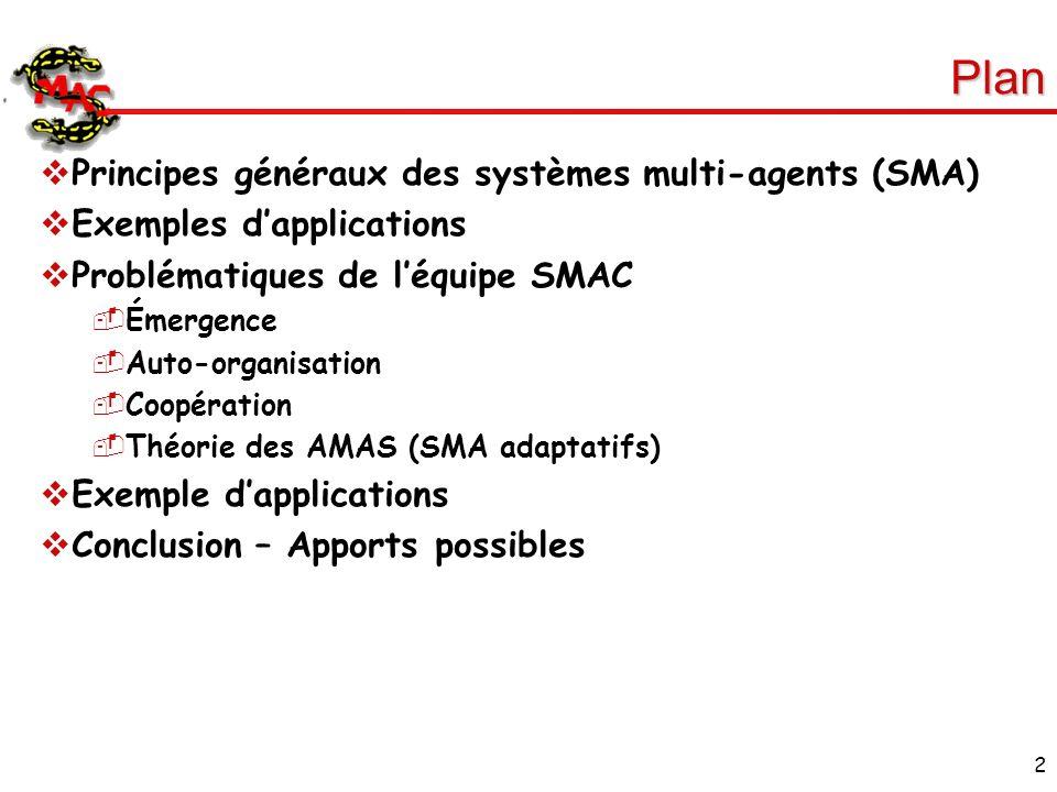 2 Plan Principes généraux des systèmes multi-agents (SMA) Exemples dapplications Problématiques de léquipe SMAC Émergence Auto-organisation Coopératio