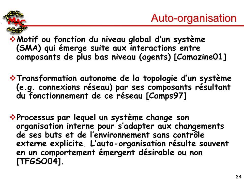 24 Auto-organisation Motif ou fonction du niveau global dun système (SMA) qui émerge suite aux interactions entre composants de plus bas niveau (agent
