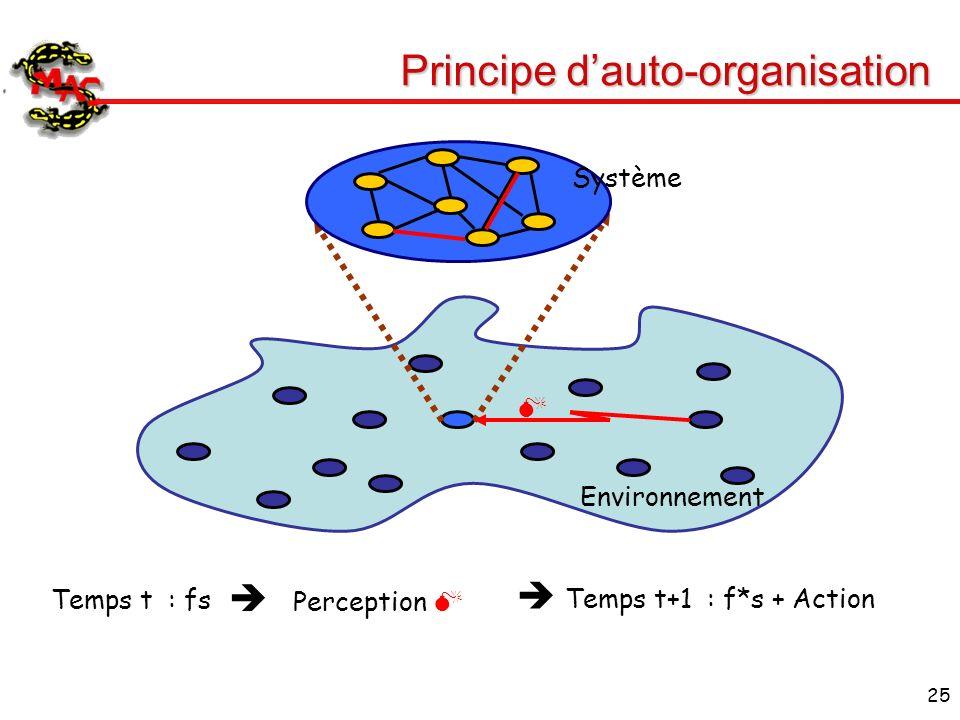 25 Principe dauto-organisation Environnement Système Perception Temps t : fs Temps t+1 : f*s + Action