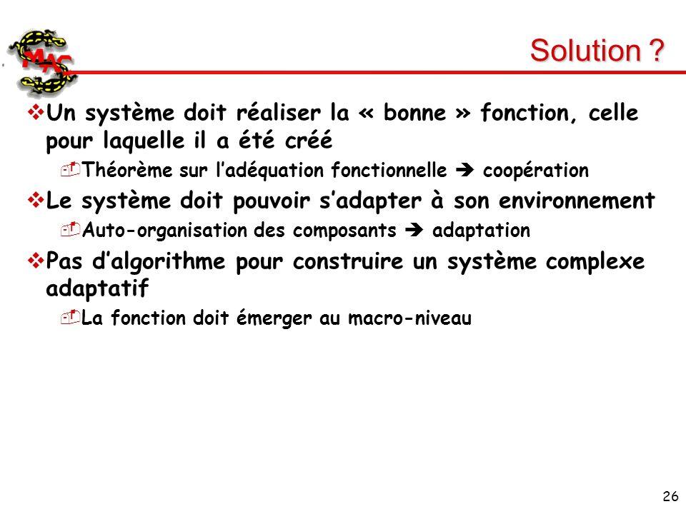 26 Solution ? Un système doit réaliser la « bonne » fonction, celle pour laquelle il a été créé Théorème sur ladéquation fonctionnelle coopération Le