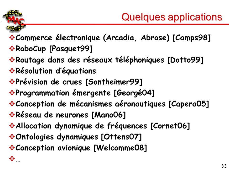 33 Quelques applications Commerce électronique (Arcadia, Abrose) [Camps98] RoboCup [Pasquet99] Routage dans des réseaux téléphoniques [Dotto99] Résolu