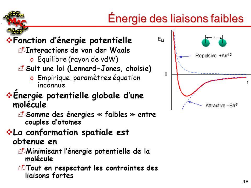 48 Énergie des liaisons faibles Fonction dénergie potentielle Interactions de van der Waals oÉquilibre (rayon de vdW) Suit une loi (Lennard-Jones, cho