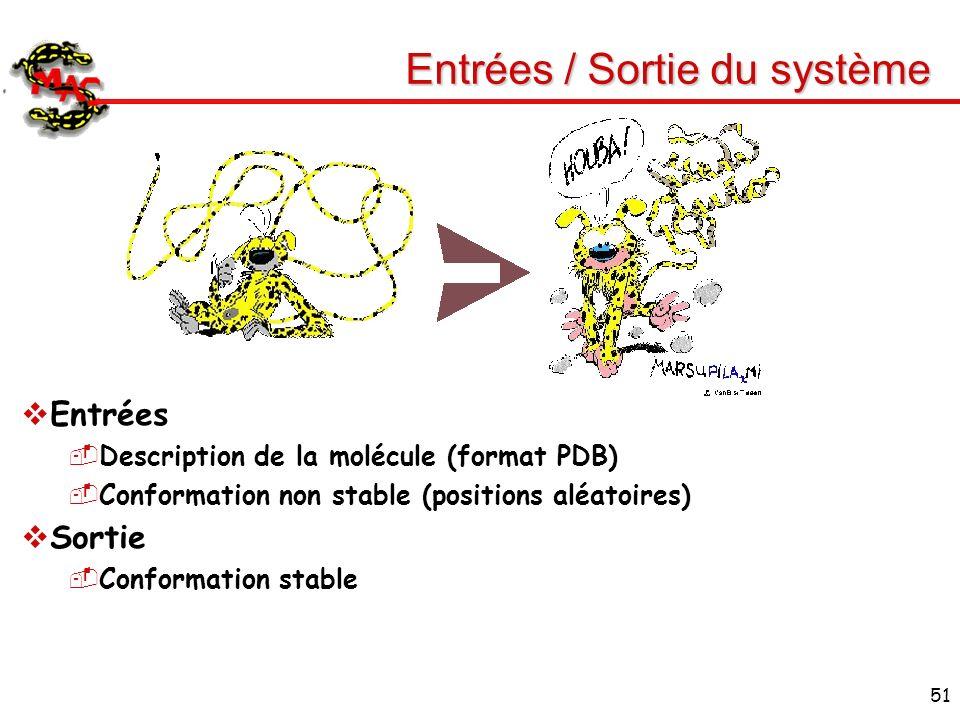 51 Entrées / Sortie du système Entrées Description de la molécule (format PDB) Conformation non stable (positions aléatoires) Sortie Conformation stab