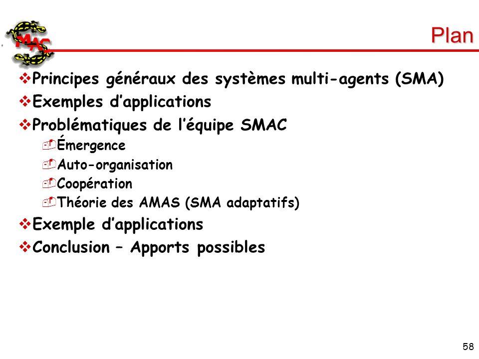 58 Plan Principes généraux des systèmes multi-agents (SMA) Exemples dapplications Problématiques de léquipe SMAC Émergence Auto-organisation Coopérati