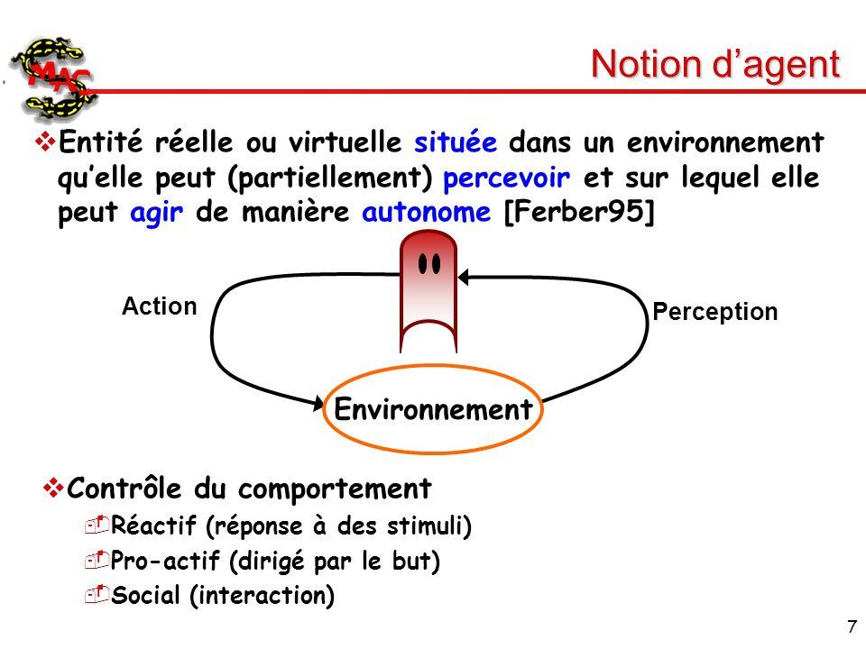 7 Notion dagent Entité réelle ou virtuelle située dans un environnement quelle peut (partiellement) percevoir et sur lequel elle peut agir de manière