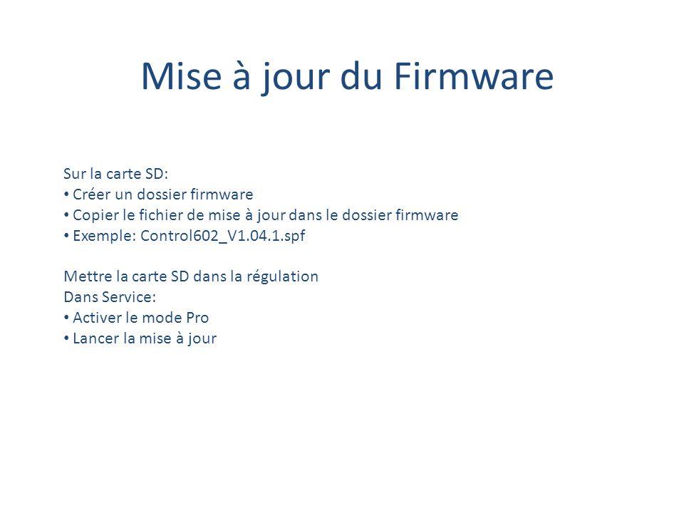 Mise à jour du Firmware Sur la carte SD: Créer un dossier firmware Copier le fichier de mise à jour dans le dossier firmware Exemple: Control602_V1.04