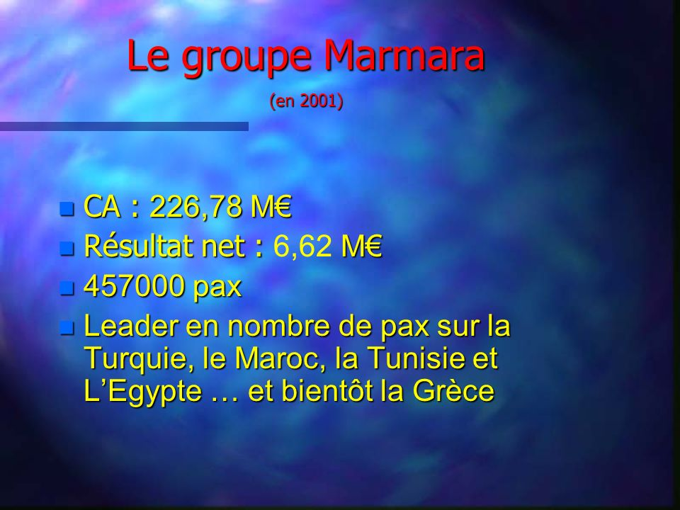 Le groupe Marmara (en 2001) CA : 226,78 M CA : 226,78 M Résultat net : M Résultat net : 6,62 M n 457000 pax n Leader en nombre de pax sur la Turquie, le Maroc, la Tunisie et LEgypte … et bientôt la Grèce