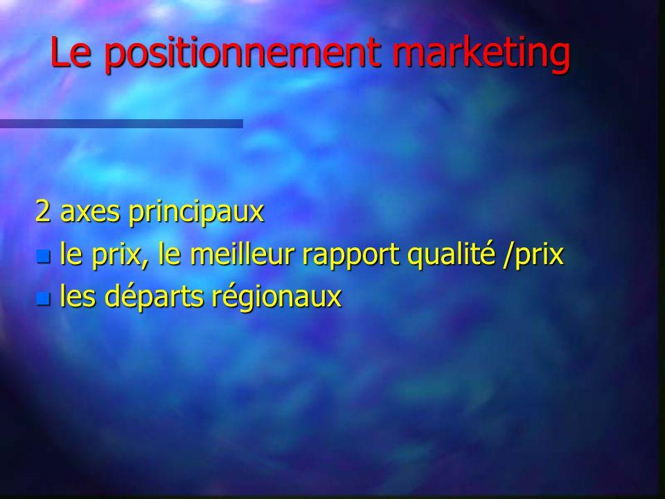 Le positionnement marketing 2 axes principaux n le prix, le meilleur rapport qualité /prix n les départs régionaux
