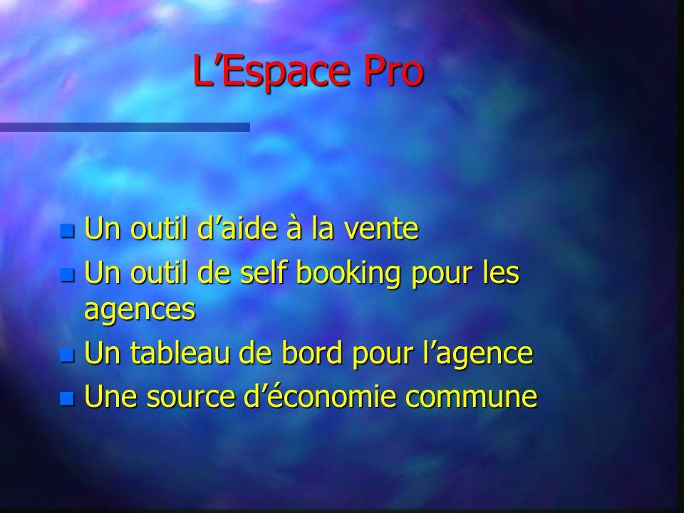 LEspace Pro n Un outil daide à la vente n Un outil de self booking pour les agences n Un tableau de bord pour lagence n Une source déconomie commune