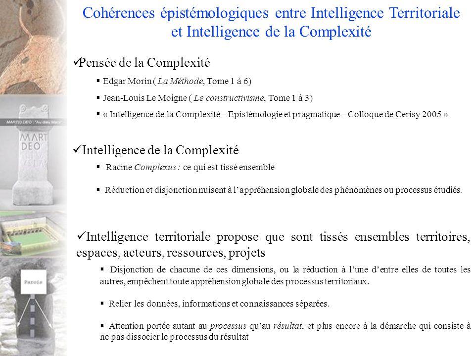 Pensée de la Complexité Edgar Morin ( La Méthode, Tome 1 à 6) Jean-Louis Le Moigne ( Le constructivisme, Tome 1 à 3) « Intelligence de la Complexité – Epistémologie et pragmatique – Colloque de Cerisy 2005 » Cohérences épistémologiques entre Intelligence Territoriale et Intelligence de la Complexité Intelligence de la Complexité Racine Complexus : ce qui est tissé ensemble Réduction et disjonction nuisent à lappréhension globale des phénomènes ou processus étudiés.