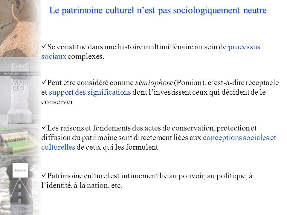 Le patrimoine culturel nest pas sociologiquement neutre Se constitue dans une histoire multimillénaire au sein de processus sociaux complexes.