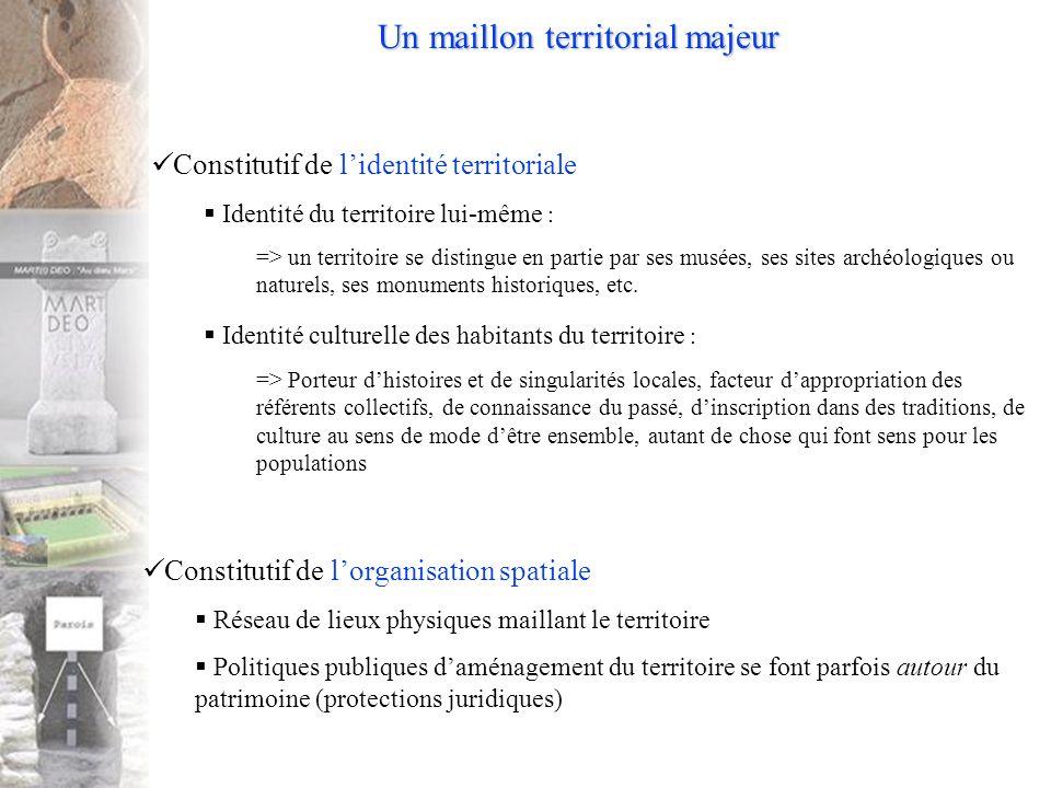 Un maillon territorial majeur Constitutif de lidentité territoriale Identité du territoire lui-même : => un territoire se distingue en partie par ses musées, ses sites archéologiques ou naturels, ses monuments historiques, etc.