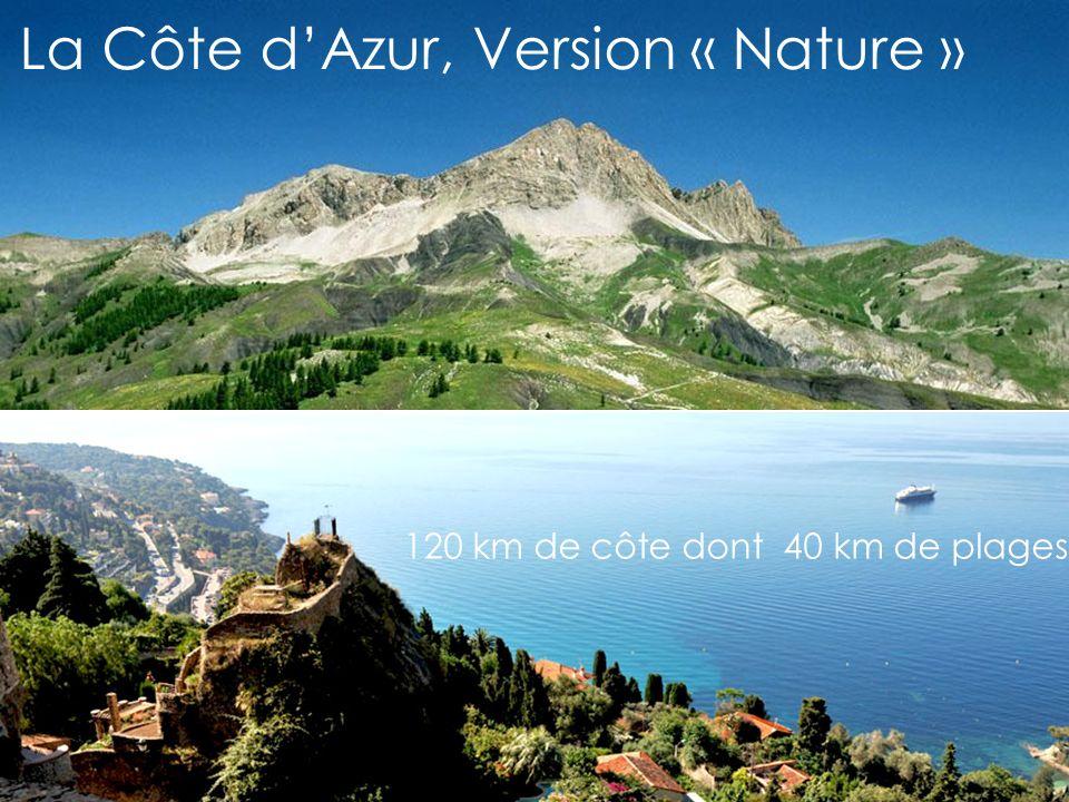 La Côte dAzur, Version « Nature » 120 km de côte dont 40 km de plages