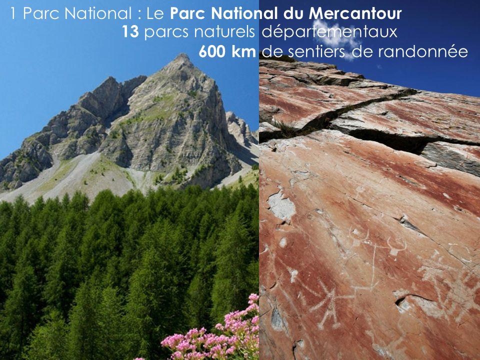 13 parcs naturels départementaux 600 km de sentiers de randonnée 1 Parc National : Le Parc National du Mercantour