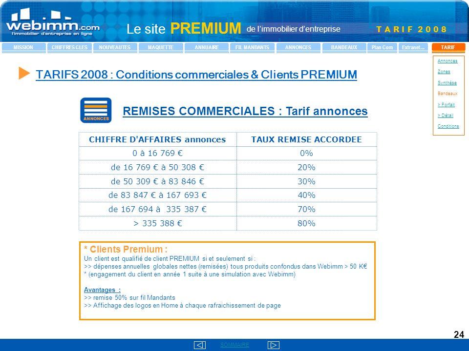 T A R I F 2 0 0 8 SOMMAIRE Le site PREMIUM de limmobilier dentreprise MISSIONCHIFFRES CLESNOUVEAUTESMAQUETTEANNUAIREFIL MANDANTSANNONCESBANDEAUXTARIFPlan ComExtranet… Annonces Zones Synthèse Bandeaux > Forfait > Détail Conditions 24 REMISES COMMERCIALES : Tarif annonces 80% > 335 388 70% de 167 694 à 335 387 40% de 83 847 à 167 693 30% de 50 309 à 83 846 20% de 16 769 à 50 308 0% 0 à 16 769 TAUX REMISE ACCORDEECHIFFRE D AFFAIRES annonces TARIFS 2008 : Conditions commerciales & Clients PREMIUM * Clients Premium : Un client est qualifié de client PREMIUM si et seulement si : >> dépenses annuelles globales nettes (remisées) tous produits confondus dans Webimm > 50 K * (engagement du client en année 1 suite à une simulation avec Webimm) Avantages : >> remise 50% sur fil Mandants >> Affichage des logos en Home à chaque rafraichissement de page