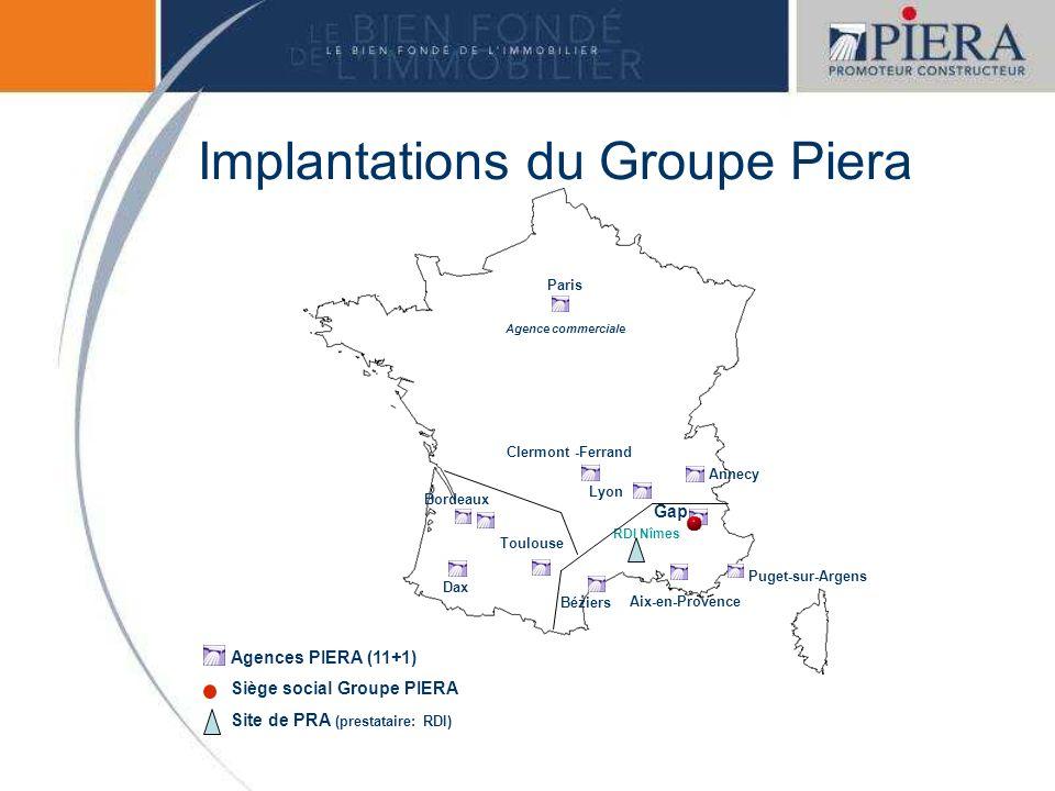 Paris Agence commerciale Dax Bordeaux Toulouse Béziers Aix-en-Provence Gap Annecy Lyon Clermont -Ferrand Puget-sur-Argens Implantations du Groupe Pier