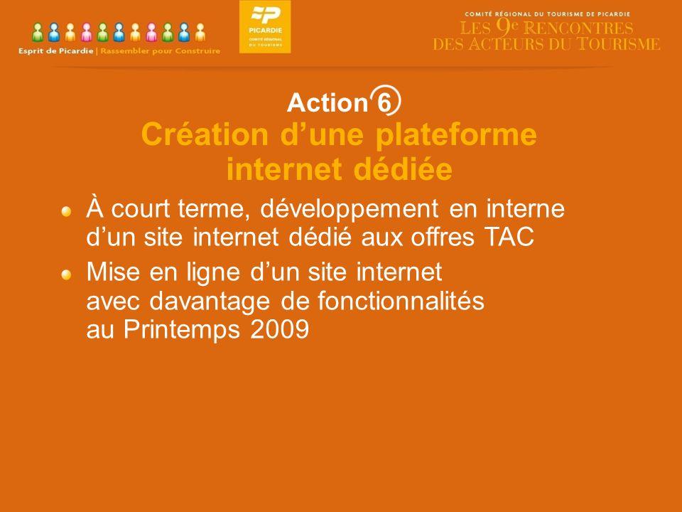 À court terme, développement en interne dun site internet dédié aux offres TAC Mise en ligne dun site internet avec davantage de fonctionnalités au Printemps 2009 Action 6 Création dune plateforme internet dédiée