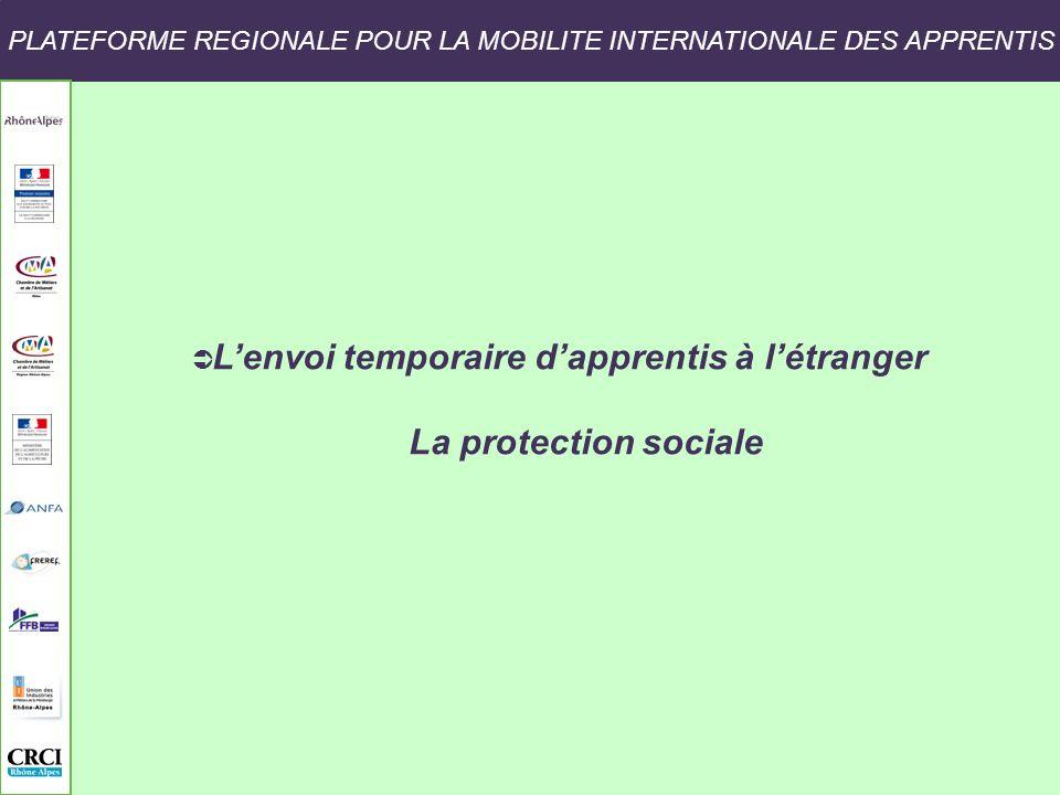 PLATEFORME REGIONALE POUR LA MOBILITE INTERNATIONALE DES APPRENTIS Lenvoi temporaire dapprentis à létranger La protection sociale