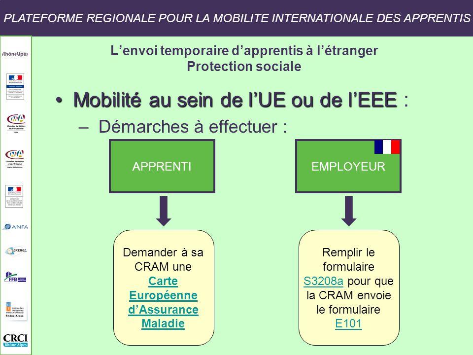 PLATEFORME REGIONALE POUR LA MOBILITE INTERNATIONALE DES APPRENTIS Lenvoi temporaire dapprentis à létranger Protection sociale Mobilité au sein de lUE ou de lEEEMobilité au sein de lUE ou de lEEE : – Démarches à effectuer : APPRENTI EMPLOYEUR Demander à sa CRAM une Carte Carte Européenne dAssurance Maladie Remplir le formulaire S3208aS3208a pour que la CRAM envoie le formulaire E101