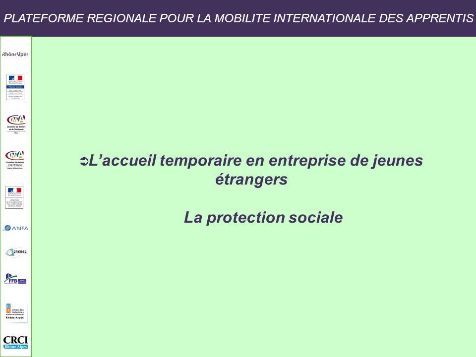 PLATEFORME REGIONALE POUR LA MOBILITE INTERNATIONALE DES APPRENTIS Laccueil temporaire en entreprise de jeunes étrangers La protection sociale