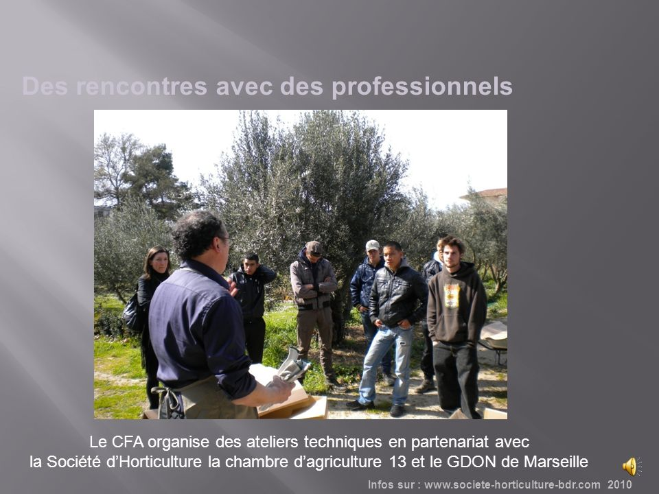 Les visites dentreprises sont loccasion dapprofondir les connaissances Infos sur : www.societe-horticulture-bdr.com 2010