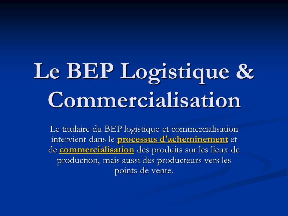 Le BEP Logistique & Commercialisation Le titulaire du BEP logistique et commercialisation intervient dans le processus d'acheminement et de commercial
