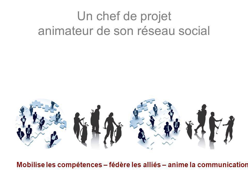 Un chef de projet animateur de son réseau social Mobilise les compétences – fédère les alliés – anime la communication